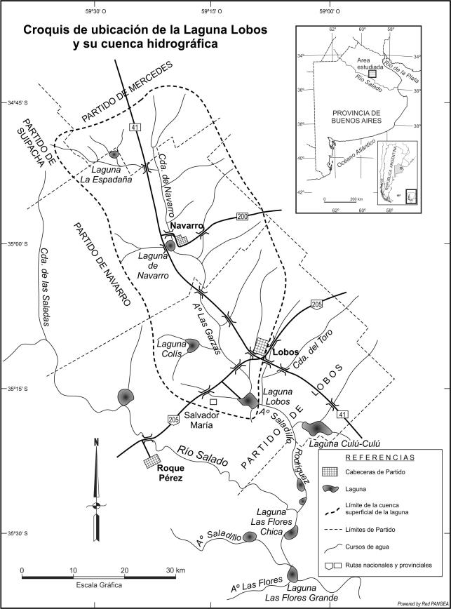 Croquis de ubicación de la cuenca de la laguna Lobos.