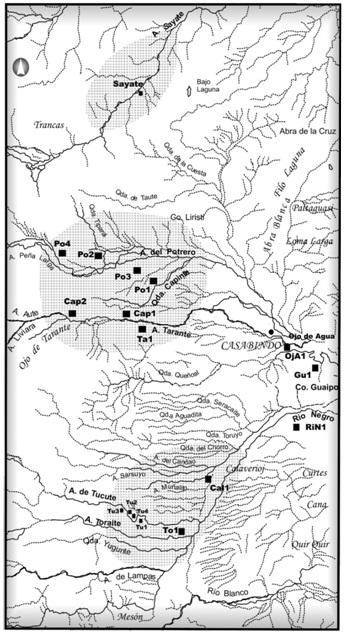 Ubicación de los asentamientos prehispánicos en Casabindo.