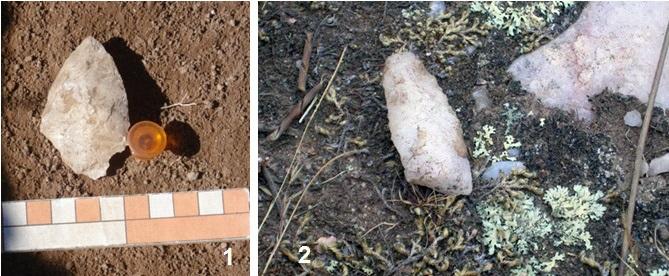 """Artefactos líticos hallados en excavación     (a la izquierda) y en superficie (a la derecha) en proximidad del     afloramiento de cuarzo en territorio indígena de """"Los Ojitos"""""""