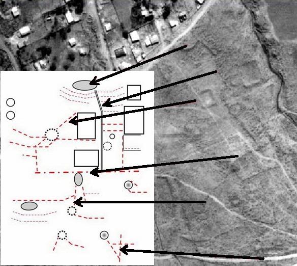 Croquis que ilustra la organización     espacial de las estructuras arquitectónicas que se observaban hace unas     décadas atrás en Los Cuartos (Loteo 61,5KM) Manasse (2012)