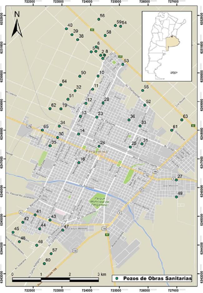Mapa de ubicación de los pozos de monitoreo del agua potable de la ciudad de Pergamino analizados
