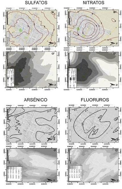 a) Mapas de isoconcentraciones estimados por kriging ordinario, b) Mapas de errores de estimación