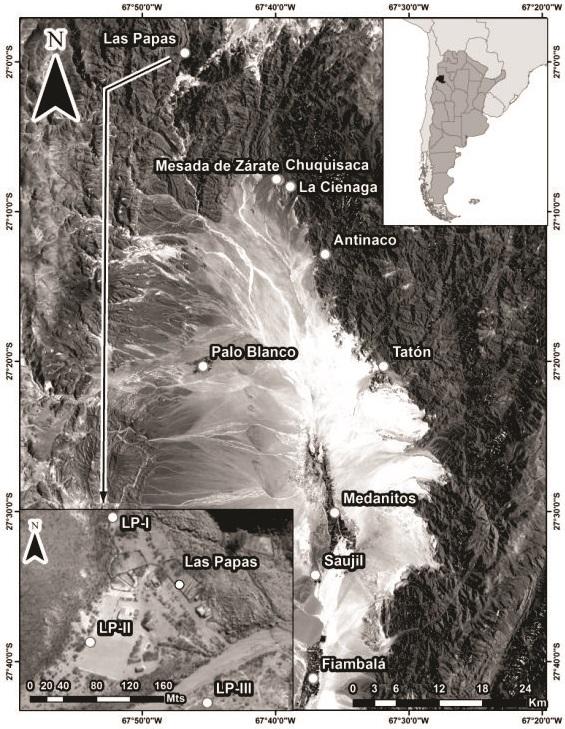 Detalle de la ubicación de los entierros de Las     Papas dentro del contexto general del bolsón de Fiambalá y el Área de La     Herradura.