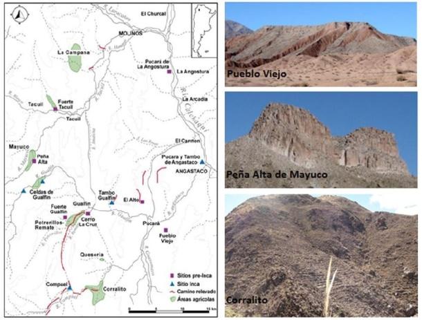 Ubicación de los pucaras e     imágenes ilustrativas de algunos ejemplos del VCM, Salta.
