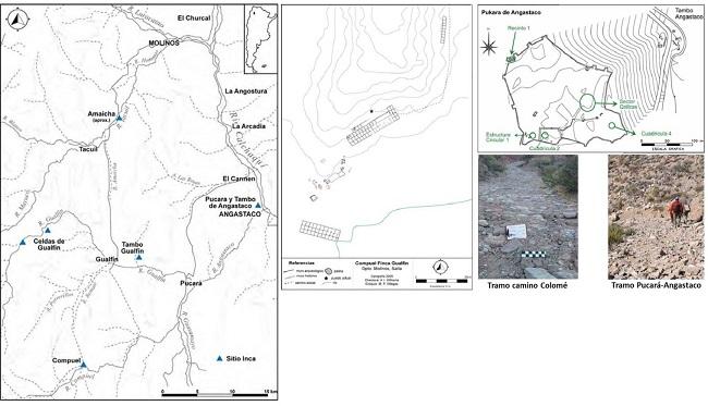 Mapa con ubicación de sitios incas en la zona de     estudio. Plano e imágenes del pucara y tambo de Angastaco y Compuel (tomado     de Williams 2015a).